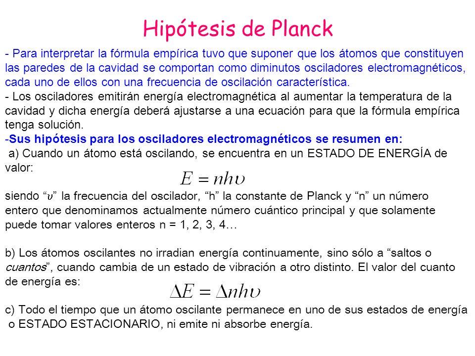 Hipótesis de Planck - Para interpretar la fórmula empírica tuvo que suponer que los átomos que constituyen las paredes de la cavidad se comportan como