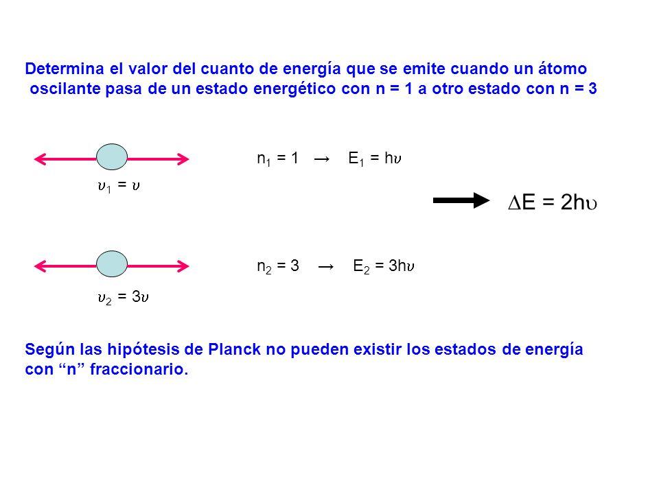 Determina el valor del cuanto de energía que se emite cuando un átomo oscilante pasa de un estado energético con n = 1 a otro estado con n = 3 n 1 = 1