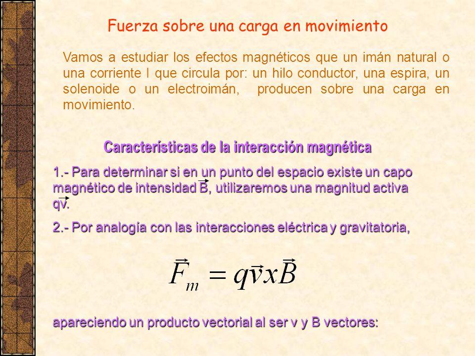 Fuerza sobre una carga en movimiento Vamos a estudiar los efectos magnéticos que un imán natural o una corriente I que circula por: un hilo conductor,