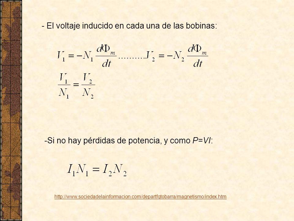 - El voltaje inducido en cada una de las bobinas: -Si no hay pérdidas de potencia, y como P=VI: http://www.sociedadelainformacion.com/departfqtobarra/