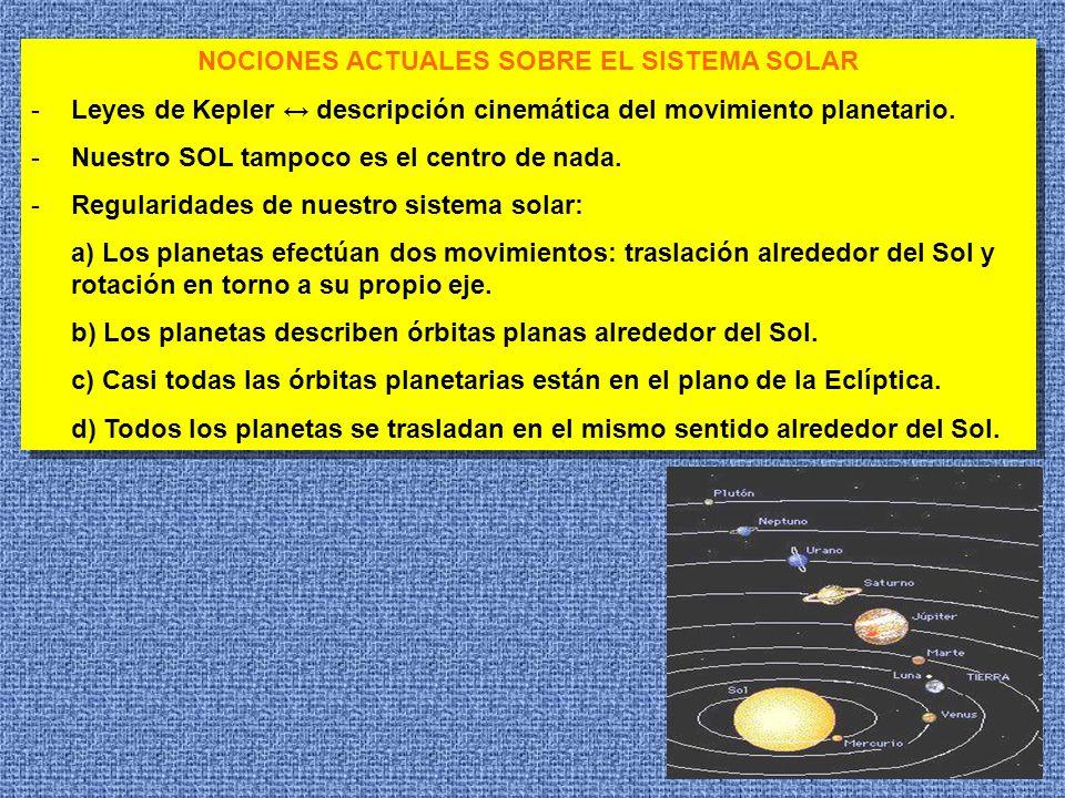 9 NOCIONES ACTUALES SOBRE EL SISTEMA SOLAR -Leyes de Kepler descripción cinemática del movimiento planetario. -Nuestro SOL tampoco es el centro de nad