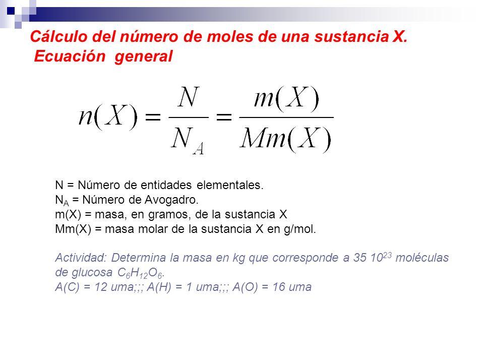 Cálculo del número de moles de una sustancia X. Ecuación general N = Número de entidades elementales. N A = Número de Avogadro. m(X) = masa, en gramos