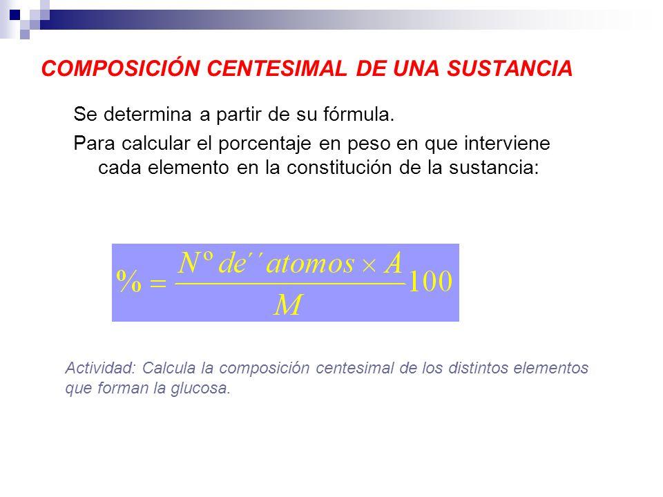 COMPOSICIÓN CENTESIMAL DE UNA SUSTANCIA Se determina a partir de su fórmula. Para calcular el porcentaje en peso en que interviene cada elemento en la