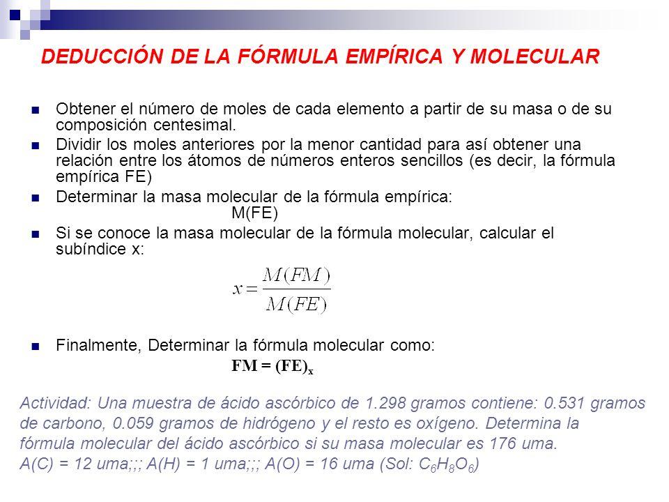 DEDUCCIÓN DE LA FÓRMULA EMPÍRICA Y MOLECULAR Obtener el número de moles de cada elemento a partir de su masa o de su composición centesimal. Dividir l