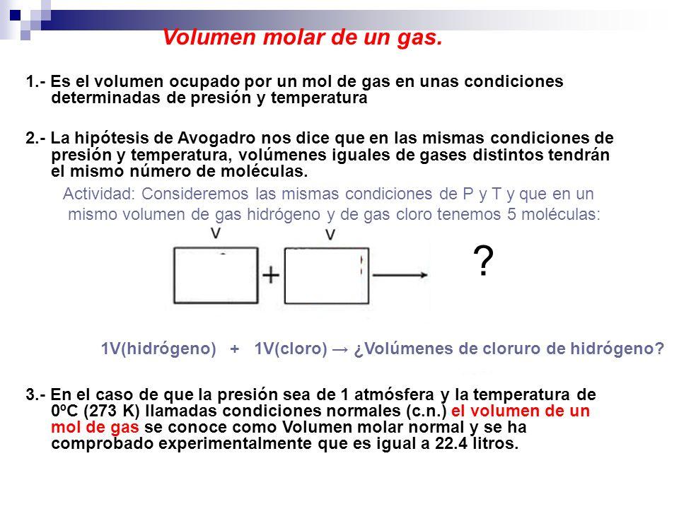 Volumen molar de un gas. 1.- Es el volumen ocupado por un mol de gas en unas condiciones determinadas de presión y temperatura 2.- La hipótesis de Avo