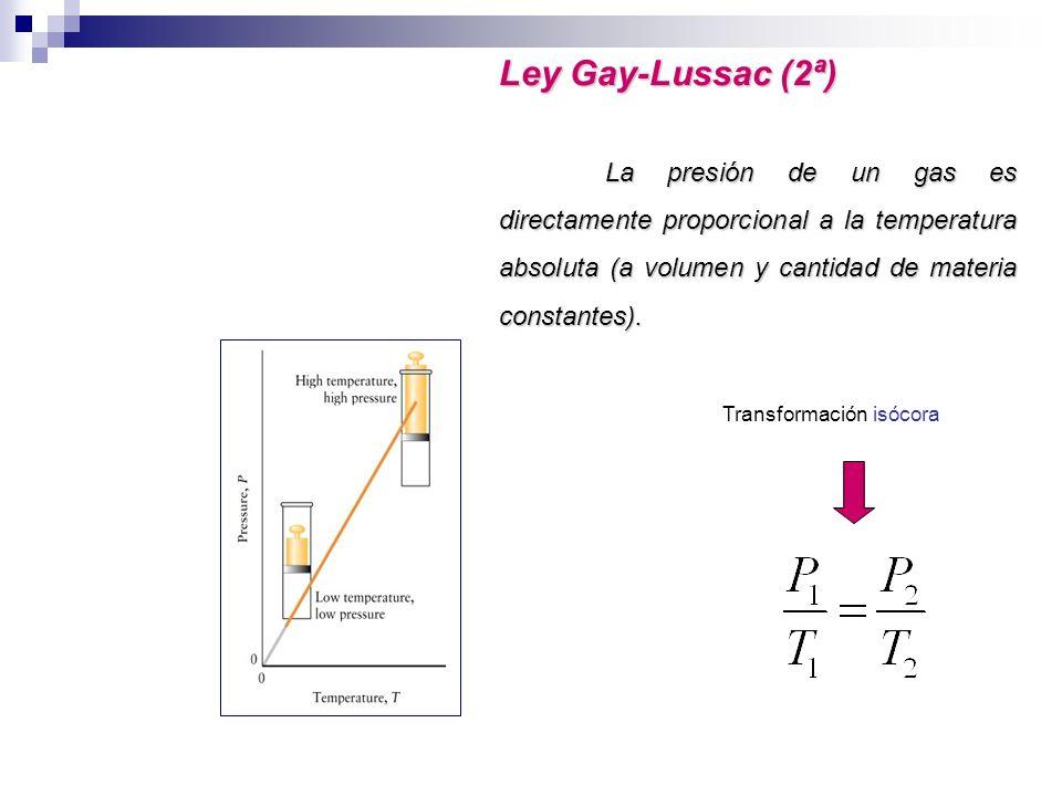 Ley Gay-Lussac (2ª) La presión de un gas es directamente proporcional a la temperatura absoluta (a volumen y cantidad de materia constantes). Transfor