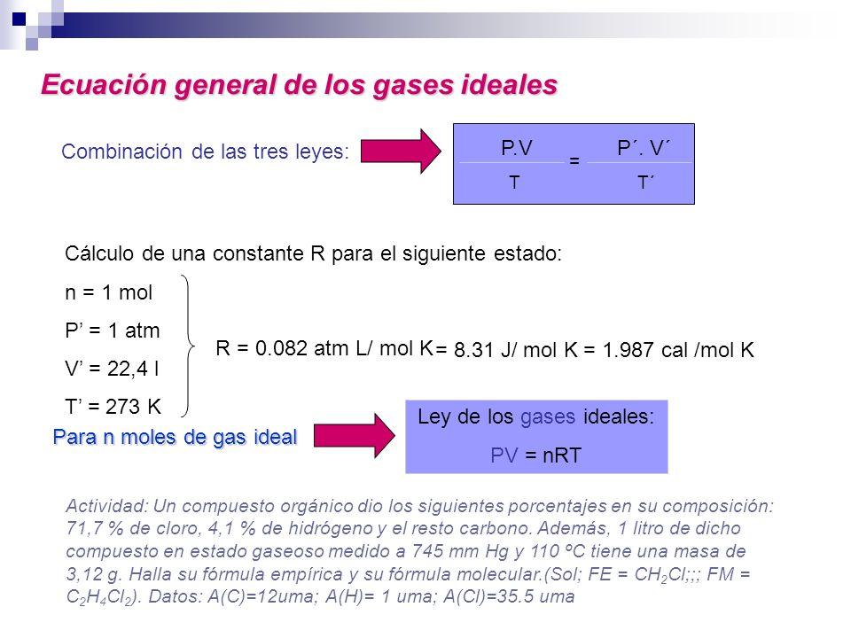 Combinación de las tres leyes: Ley de los gases ideales: PV = nRT Cálculo de una constante R para el siguiente estado: n = 1 mol P = 1 atm V = 22,4 l