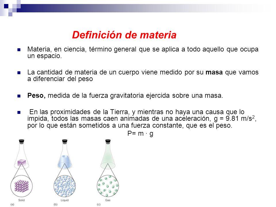 Definición de materia Materia, en ciencia, término general que se aplica a todo aquello que ocupa un espacio. La cantidad de materia de un cuerpo vien