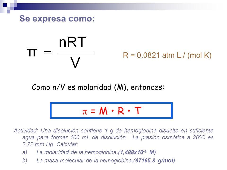 Como n/V es molaridad (M), entonces: = M R T R = 0.0821 atm L / (mol K) Se expresa como: Actividad: Una disolución contiene 1 g de hemoglobina disuelt