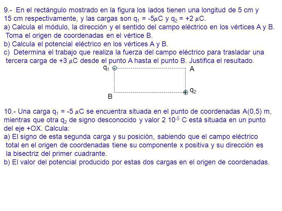 9.- En el rectángulo mostrado en la figura los lados tienen una longitud de 5 cm y 15 cm respectivamente, y las cargas son q 1 = -5 C y q 2 = +2 C. a)