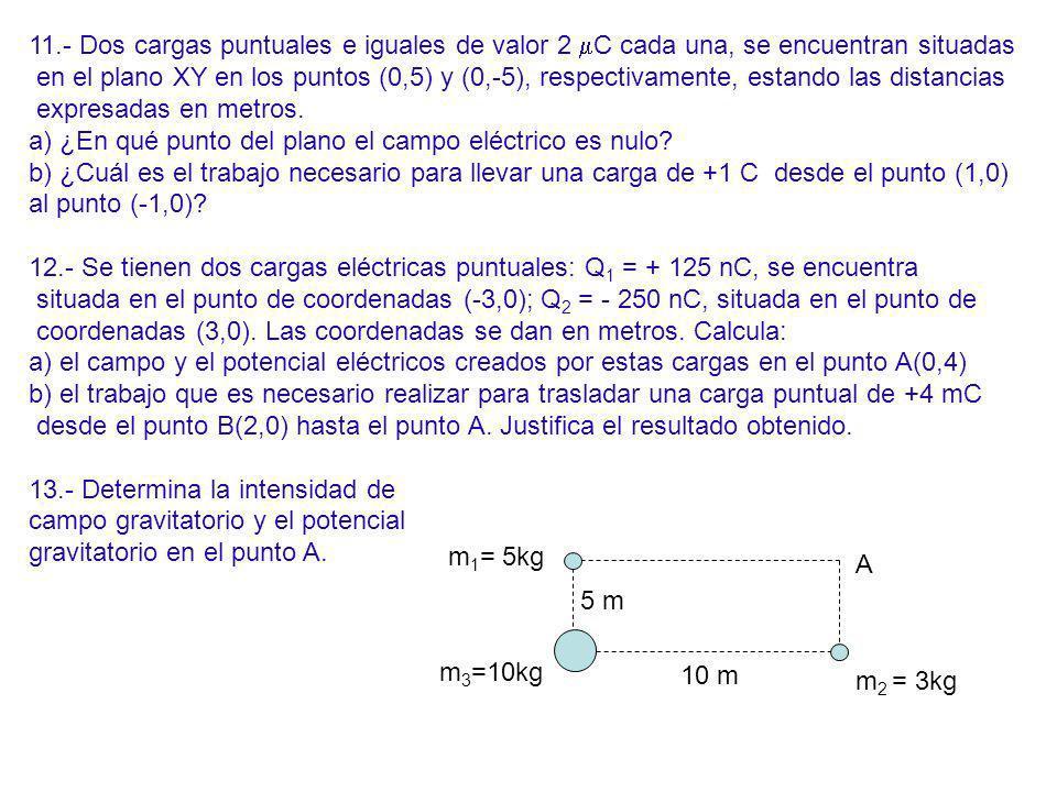 11.- Dos cargas puntuales e iguales de valor 2 C cada una, se encuentran situadas en el plano XY en los puntos (0,5) y (0,-5), respectivamente, estand