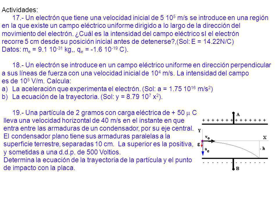 Actividades: 17.- Un electrón que tiene una velocidad inicial de 5 10 5 m/s se introduce en una región en la que existe un campo eléctrico uniforme di