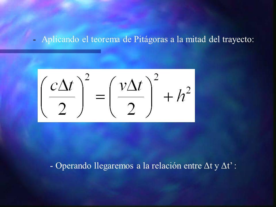 -Aplicando el teorema de Pitágoras a la mitad del trayecto: - Operando llegaremos a la relación entre Δt y Δt :