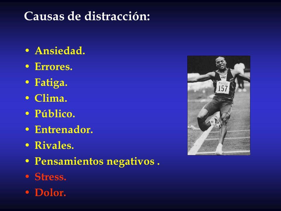 Causas de distracción: Ansiedad. Errores. Fatiga. Clima. Público. Entrenador. Rivales. Pensamientos negativos. Stress. Dolor.
