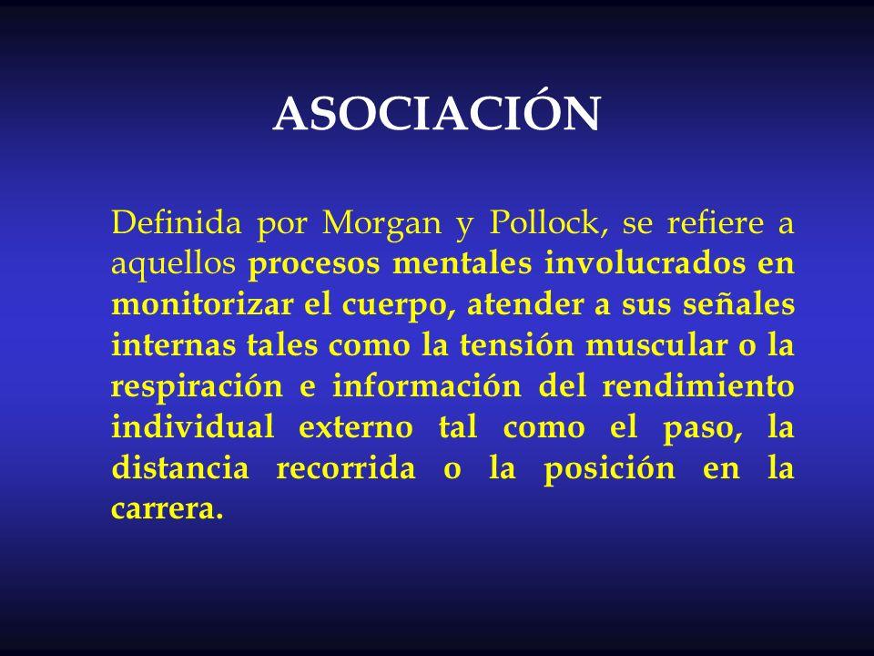 ASOCIACIÓN Definida por Morgan y Pollock, se refiere a aquellos procesos mentales involucrados en monitorizar el cuerpo, atender a sus señales interna