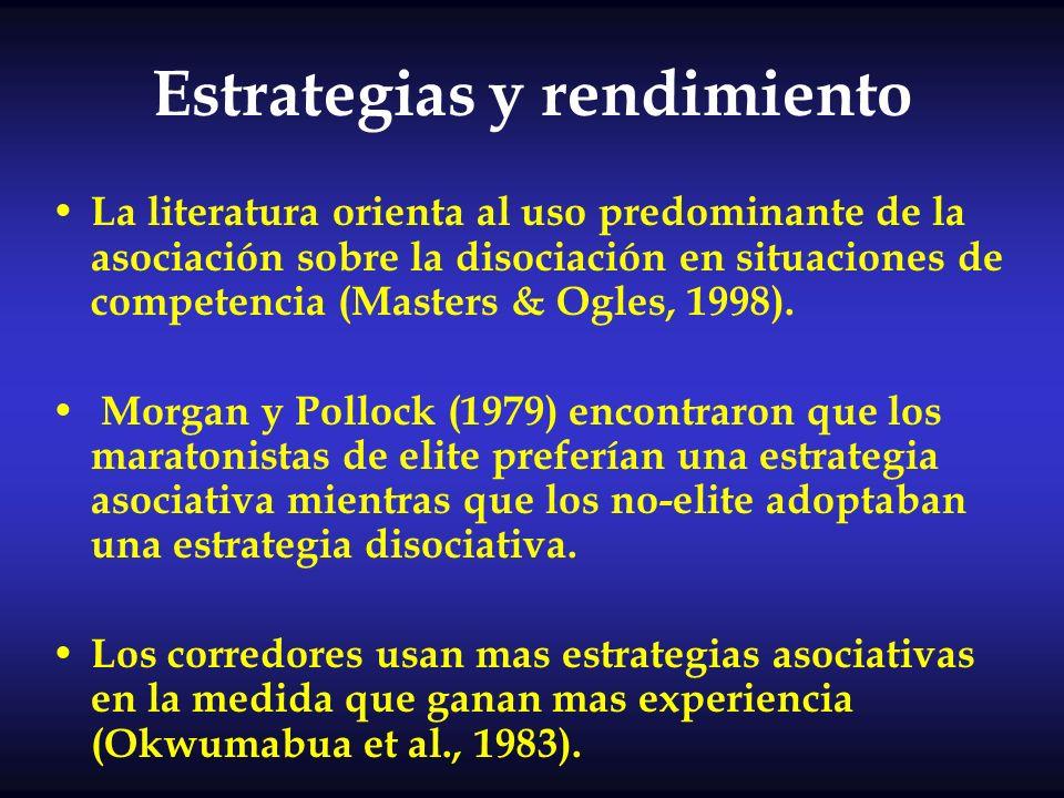 Estrategias y rendimiento La literatura orienta al uso predominante de la asociación sobre la disociación en situaciones de competencia (Masters & Ogl