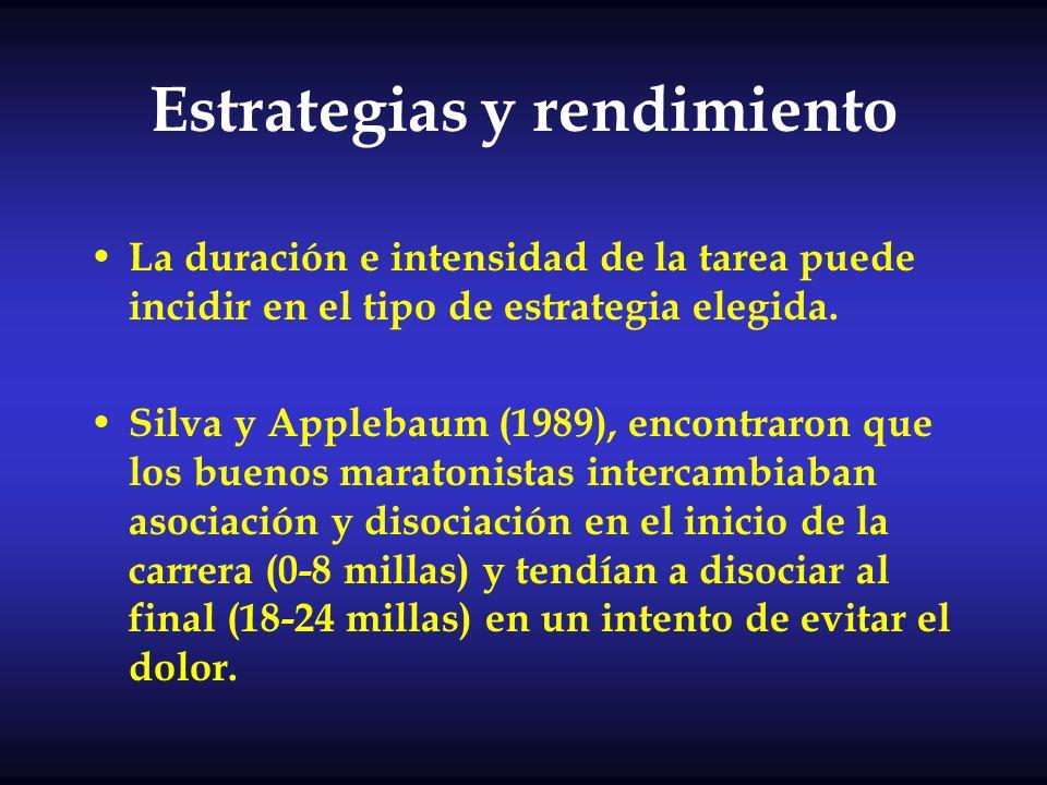 Estrategias y rendimiento La duración e intensidad de la tarea puede incidir en el tipo de estrategia elegida. Silva y Applebaum (1989), encontraron q