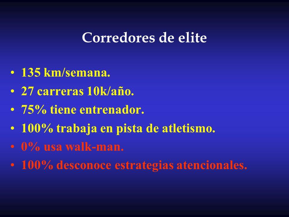 Corredores de elite 135 km/semana. 27 carreras 10k/año. 75% tiene entrenador. 100% trabaja en pista de atletismo. 0% usa walk-man. 100% desconoce estr