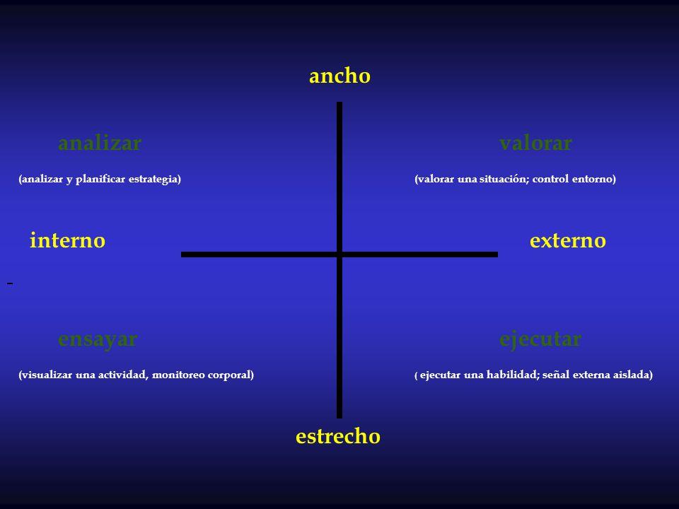 ancho analizar valorar (analizar y planificar estrategia) (valorar una situación; control entorno) interno externo ensayar ejecutar (visualizar una ac
