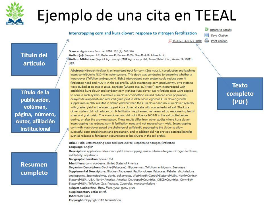 Ejemplo de una cita en TEEAL Título del artículo Título de la publicación, volúmen, página, número, Autor, afiliación institucional Resumen completo Texto completo (PDF)