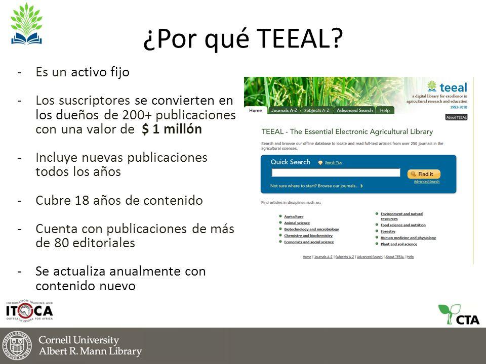 La relevancia de TEEAL en un mundo conectado a la red -Los costos anuales de suscripción son altos y los presupuestos de las bibliotecas son inestables.