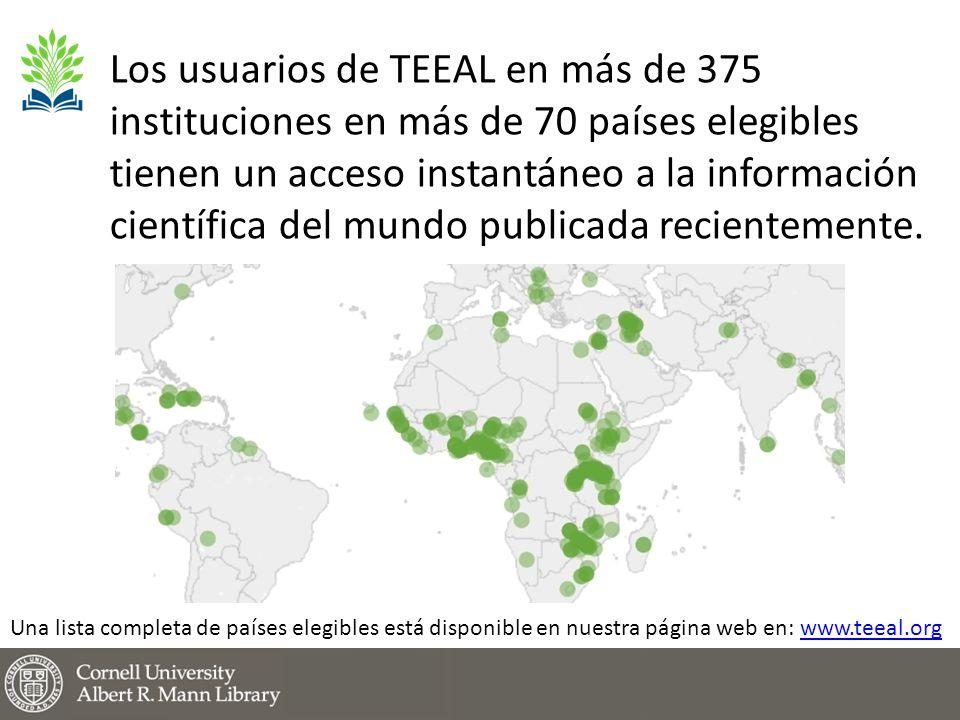 Los usuarios de TEEAL en más de 375 instituciones en más de 70 países elegibles tienen un acceso instantáneo a la información científica del mundo publicada recientemente.