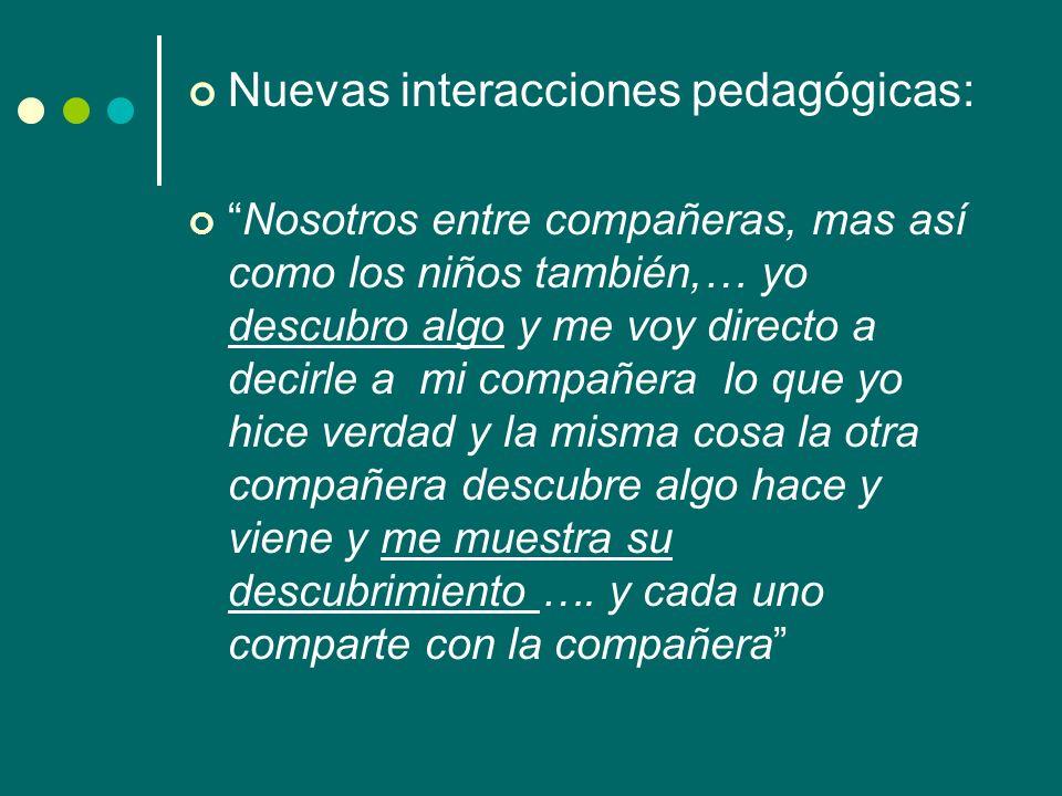 Nuevas interacciones pedagógicas: Nosotros entre compañeras, mas así como los niños también,… yo descubro algo y me voy directo a decirle a mi compañe