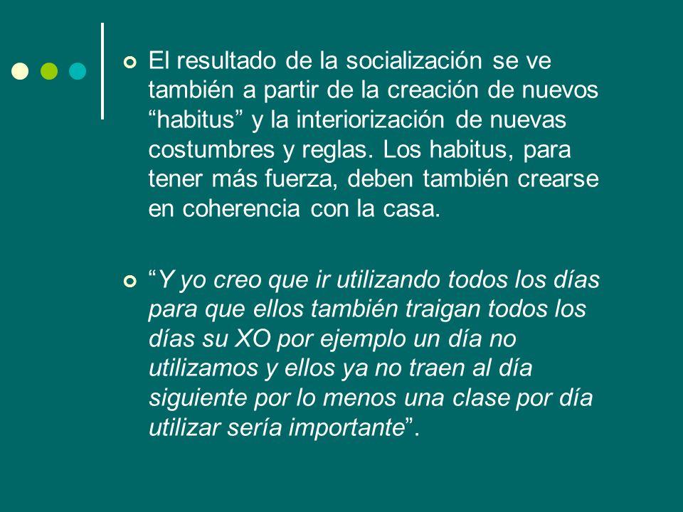 El resultado de la socialización se ve también a partir de la creación de nuevos habitus y la interiorización de nuevas costumbres y reglas. Los habit