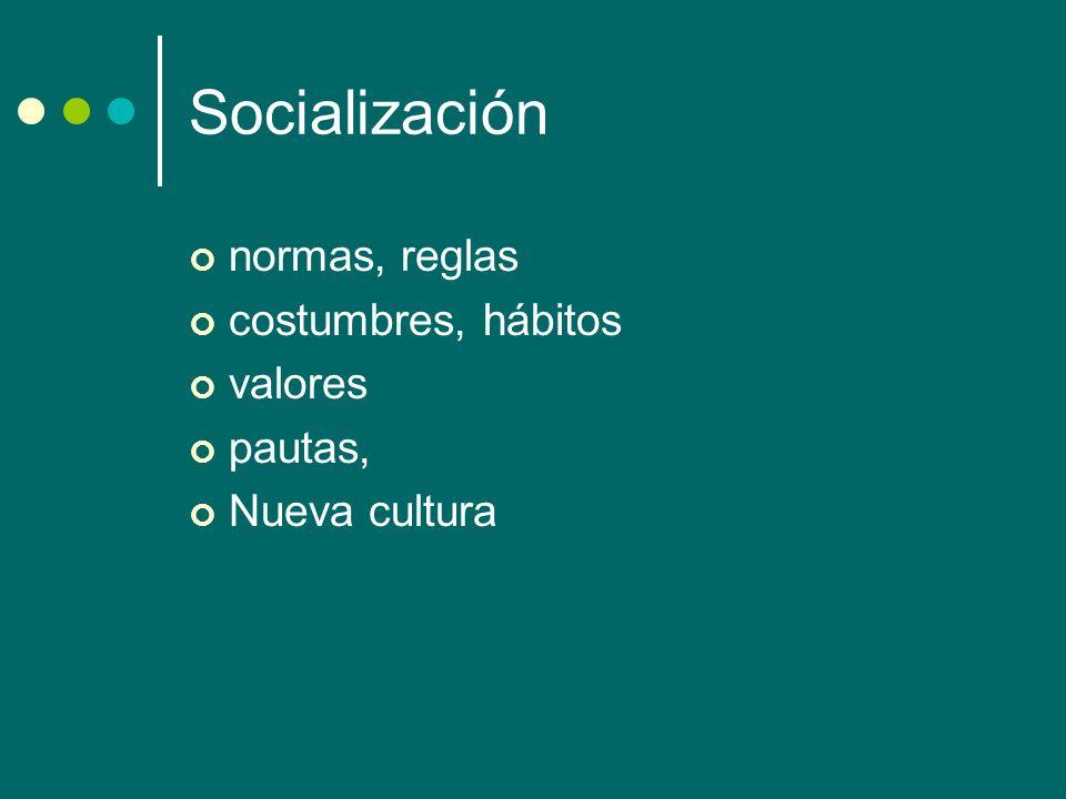 Socialización normas, reglas costumbres, hábitos valores pautas, Nueva cultura