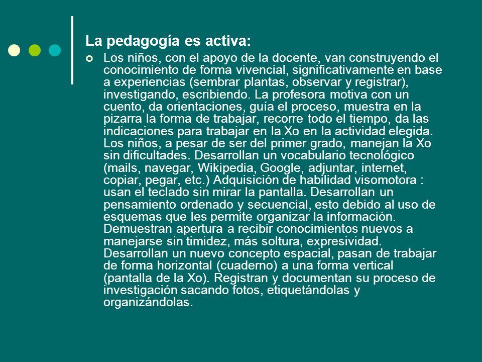 La pedagogía es activa: Los niños, con el apoyo de la docente, van construyendo el conocimiento de forma vivencial, significativamente en base a exper