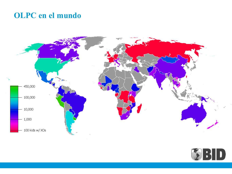 OLPC en Perú Meta: incrementar el aprendizaje en zonas pobres Población objetivo: rural, bajo ingreso Laptops distribuidas: 850.000 Equipado con 200 cuentos y Wikipedia Gasto total: $180 millones de dólares aprox.