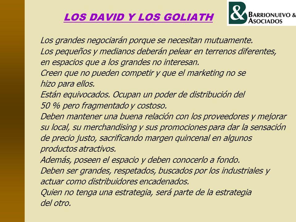 LOS DAVID Y LOS GOLIATH Los grandes negociarán porque se necesitan mutuamente. Los pequeños y medianos deberán pelear en terrenos diferentes, en espac