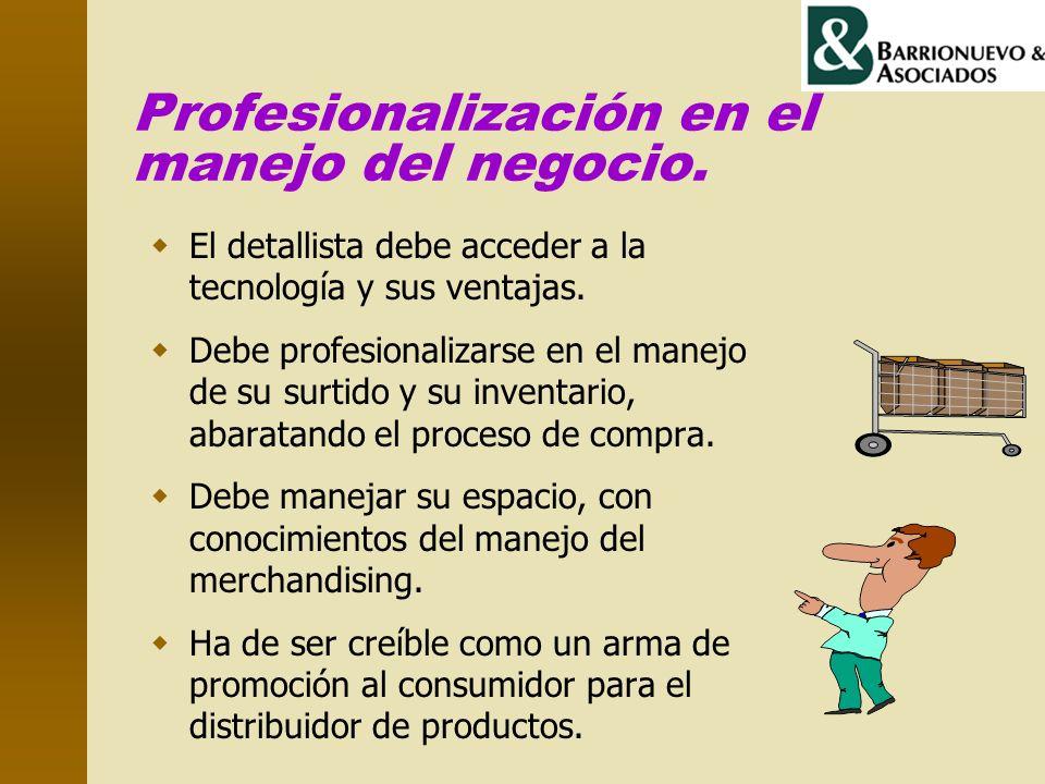 Profesionalización en el manejo del negocio. El detallista debe acceder a la tecnología y sus ventajas. Debe profesionalizarse en el manejo de su surt