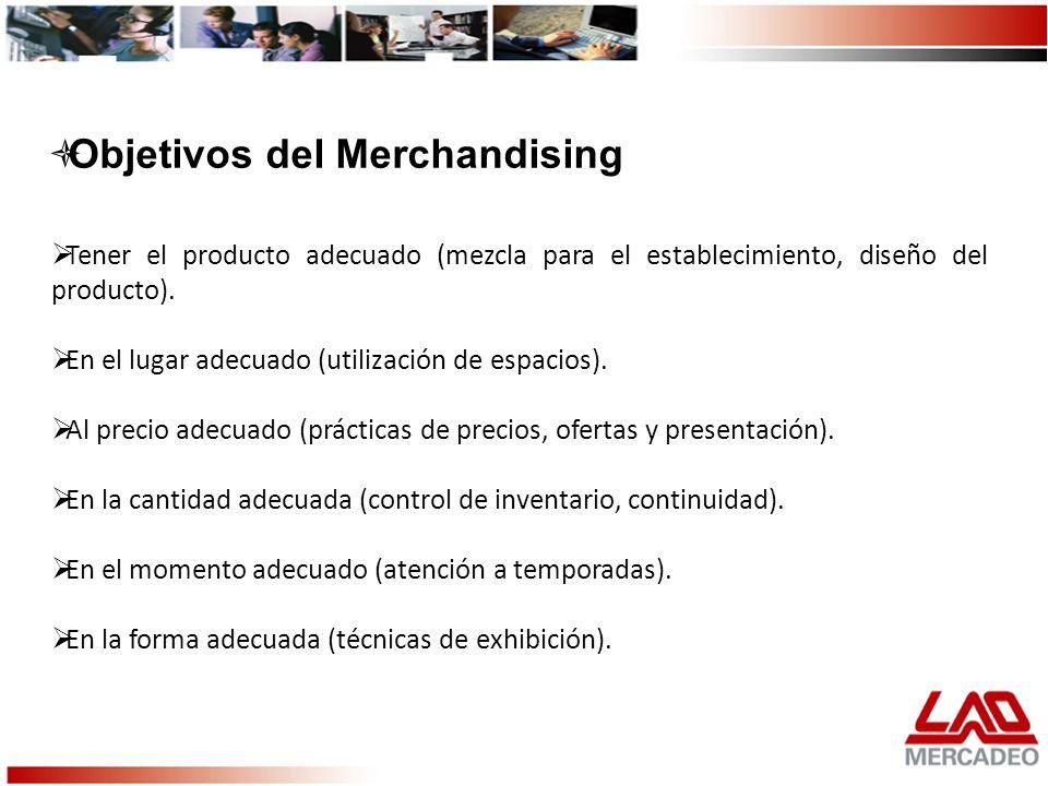 Tener el producto adecuado (mezcla para el establecimiento, diseño del producto). En el lugar adecuado (utilización de espacios). Al precio adecuado (