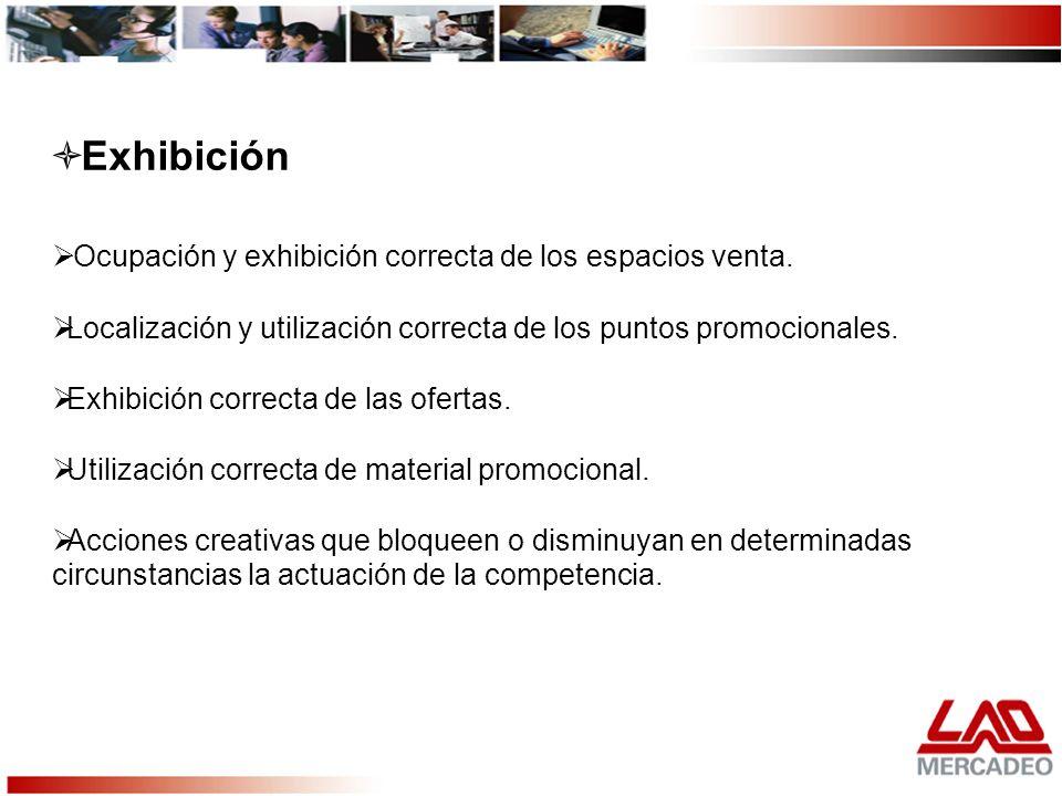Ocupación y exhibición correcta de los espacios venta. Localización y utilización correcta de los puntos promocionales. Exhibición correcta de las ofe