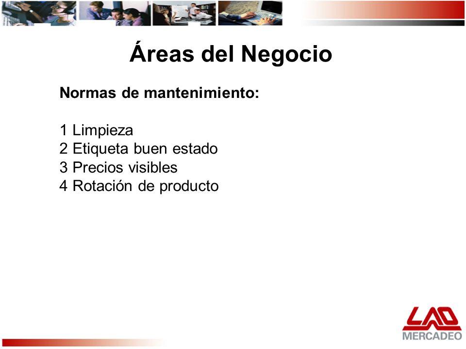 Normas de mantenimiento: 1 Limpieza 2 Etiqueta buen estado 3 Precios visibles 4 Rotación de producto Áreas del Negocio
