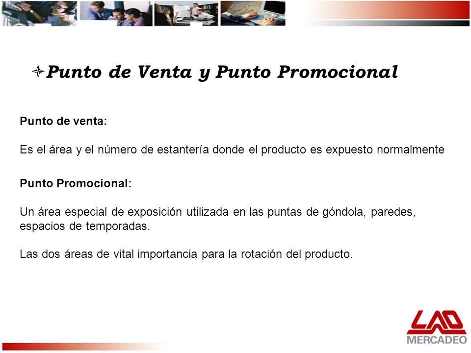 Punto de Venta y Punto Promocional Punto de venta: Es el área y el número de estantería donde el producto es expuesto normalmente Punto Promocional: U