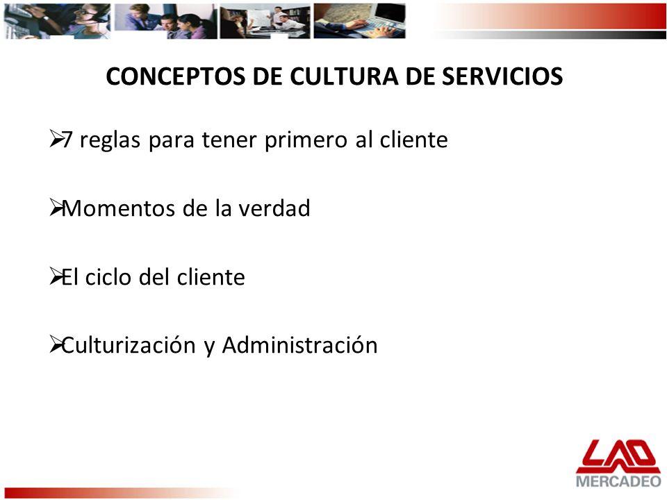 CONCEPTOS DE CULTURA DE SERVICIOS 7 reglas para tener primero al cliente Momentos de la verdad El ciclo del cliente Culturización y Administración