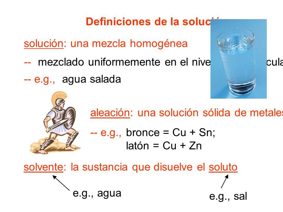 Definiciones de la solución solución: una mezcla homogénea -- e.g., -- aleación: una solución sólida de metales -- e.g., solvente: la sustancia que disuelve el soluto mezclado uniformemente en el nivel de la partícula agua salada bronce = Cu + Sn; latón = Cu + Zn e.g., agua e.g., sal