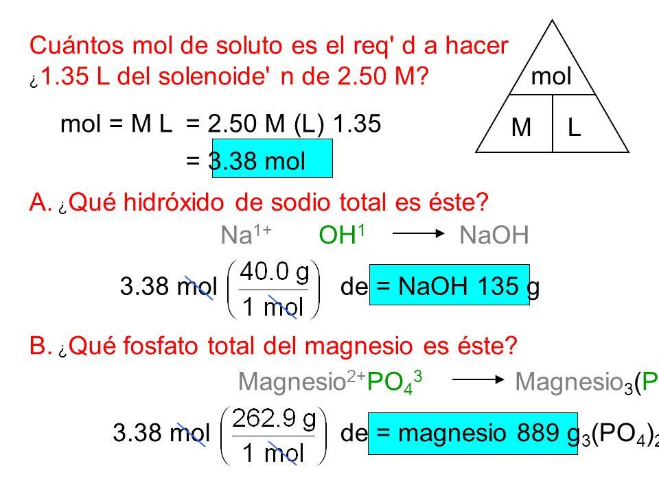 Na 1+ Cuántos mol de soluto es el req d a hacer ¿ 1.35 L del solenoide n de 2.50 M.