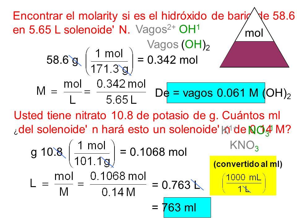 Encontrar el molarity si es el hidróxido de bario de 58.6 g en 5.65 L solenoide N.