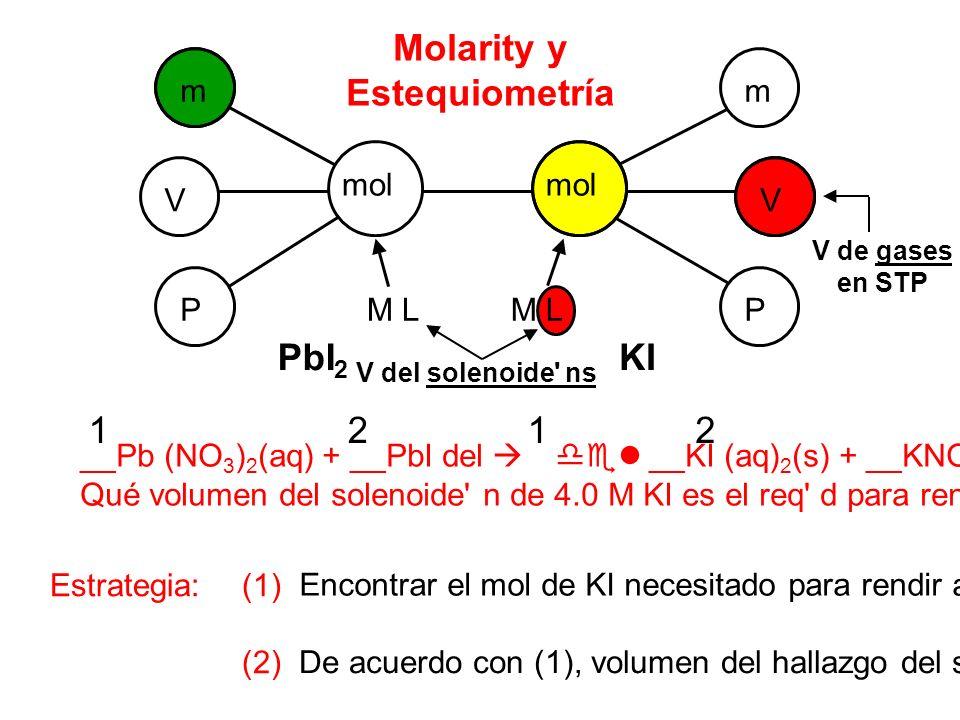 m m V V P P mol M L Molarity y Estequiometría __Pb (NO 3 ) 2 (aq) + __PbI del __KI (aq) 2 (s) + __KNO 3 (aq) Qué volumen del solenoide n de 4.0 M KI es el req d para rendir a 89 el PbI de g 2 ¿ .