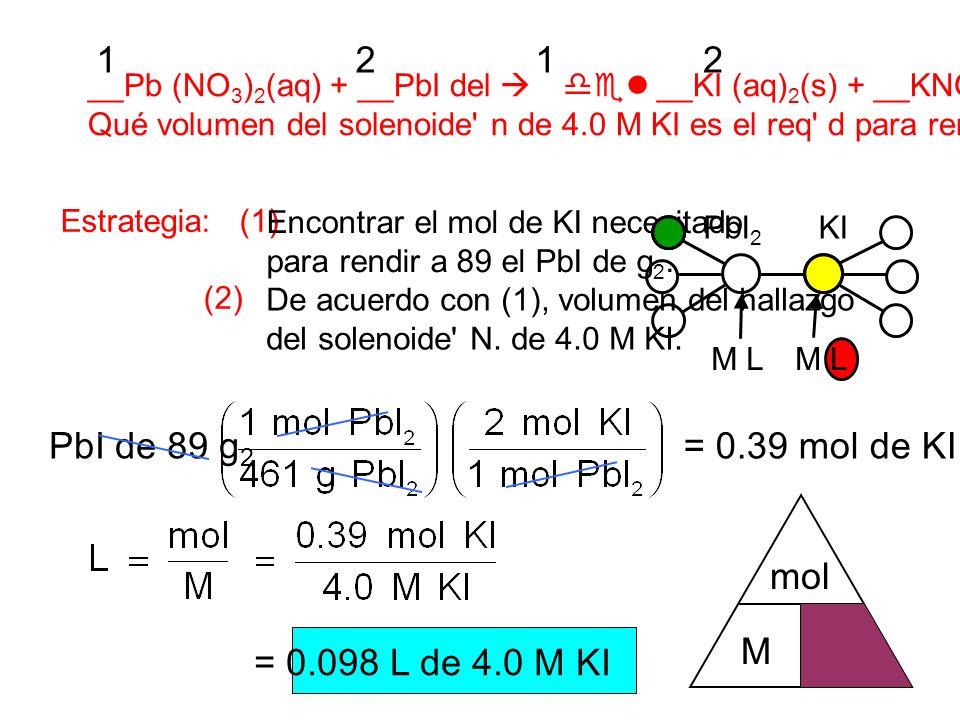 __Pb (NO 3 ) 2 (aq) + __PbI del __KI (aq) 2 (s) + __KNO 3 (aq) Qué volumen del solenoide n de 4.0 M KI es el req d para rendir a 89 el PbI de g 2 ¿ .