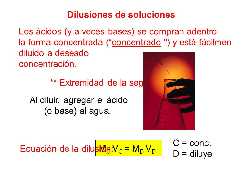 M C V C = M D V D Dilusiones de soluciones Los ácidos (y a veces bases) se compran adentro la forma concentrada (concentrado ) y está fácilmente diluido a deseado concentración.