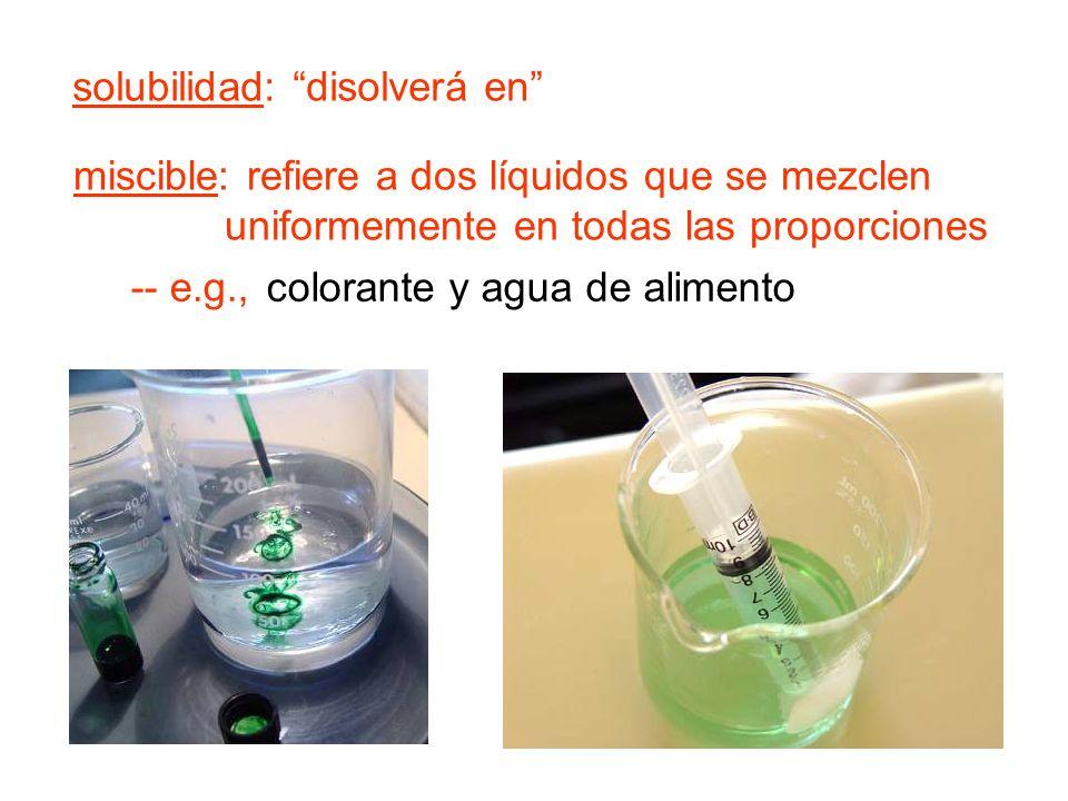 solubilidad: disolverá en miscible: refiere a dos líquidos que se mezclen uniformemente en todas las proporciones -- e.g., colorante y agua de alimento