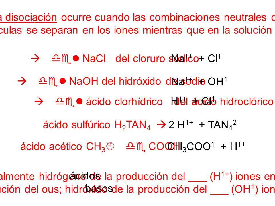 La disociación ocurre cuando las combinaciones neutrales de las partículas se separan en los iones mientras que en la solución acuosa.