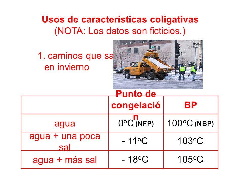 agua + más sal agua + una poca sal agua BP Punto de congelació n 0 o C (NFP) Usos de características coligativas (NOTA: Los datos son ficticios.) 1.
