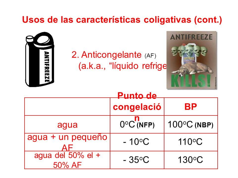 agua del 50% el + 50% AF agua + un pequeño AF agua BP Punto de congelació n 0 o C (NFP) Usos de las características coligativas (cont.) 2.