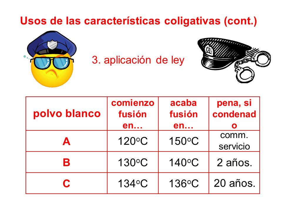 Usos de las características coligativas (cont.) 3.
