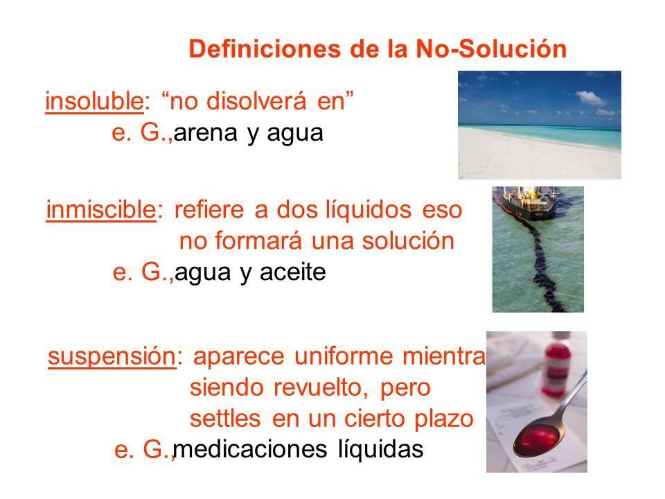 Definiciones de la No-Solución insoluble: no disolverá en e.